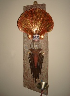 Oil lamp Scallop shell with driftwood Wick Hutton Objets trouve
