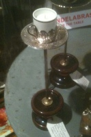 Candelabra Silver tea cup Wick Hutton Objets trouve