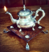 Oil lamp Vintage tea pot scaffold base Wick Hutton Objets trouve